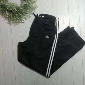 Black Adidas leg stripe classic track pants